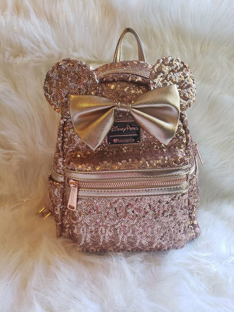 d9cae2f4c67 Disney Parks Loungefly Rose Gold Ears Sequin Minnie Mini Backpack   Disneyana  Disney  WaltDisney