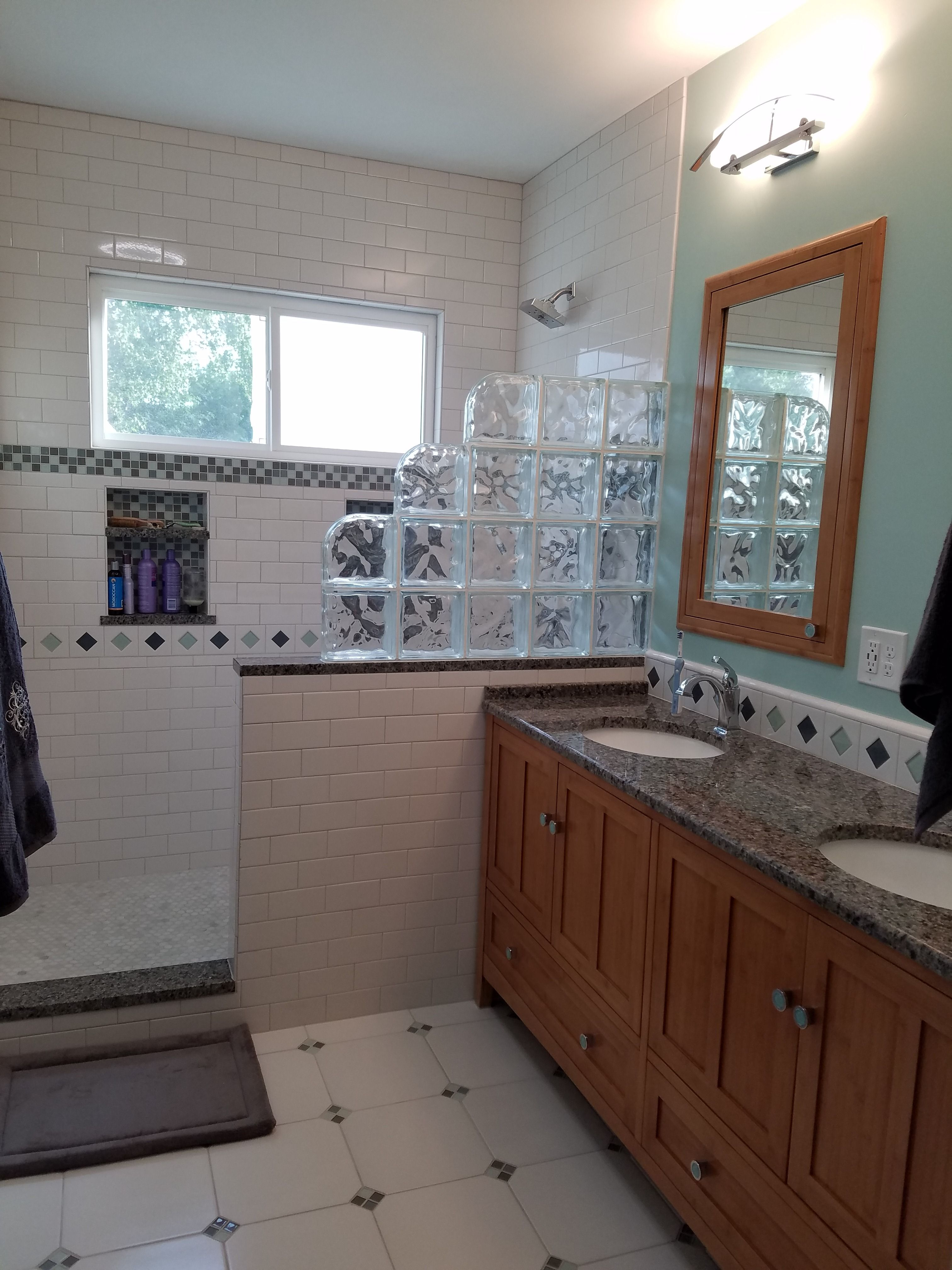 Our Finished Project Shower With Half Wall Glass Block Window And Art Deco Tiles Half Wall Shower Shower Remodel Glass Block Shower Wall Half tiled bathroom window