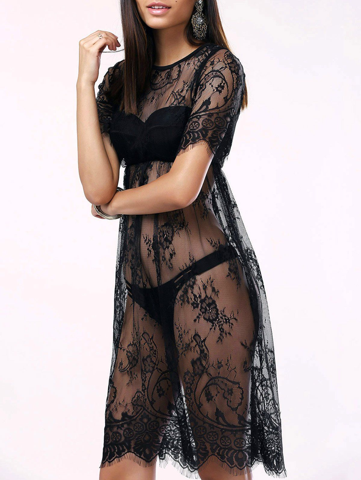 Cover-Ups & Kaftans   Black Alluring See-Through Lace Cover-Up For Women - Gamiss