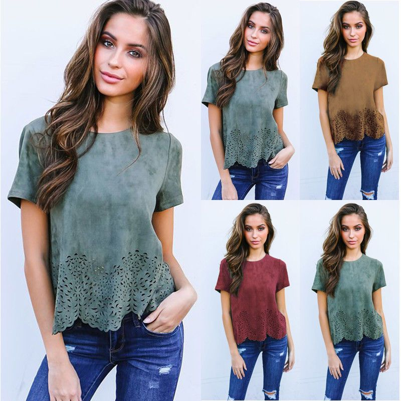 7c7c289e9d28ad Women Summer Short Sleeve Blouse Tops Ladies Floral Loose T Shirt Casual  Tee Top