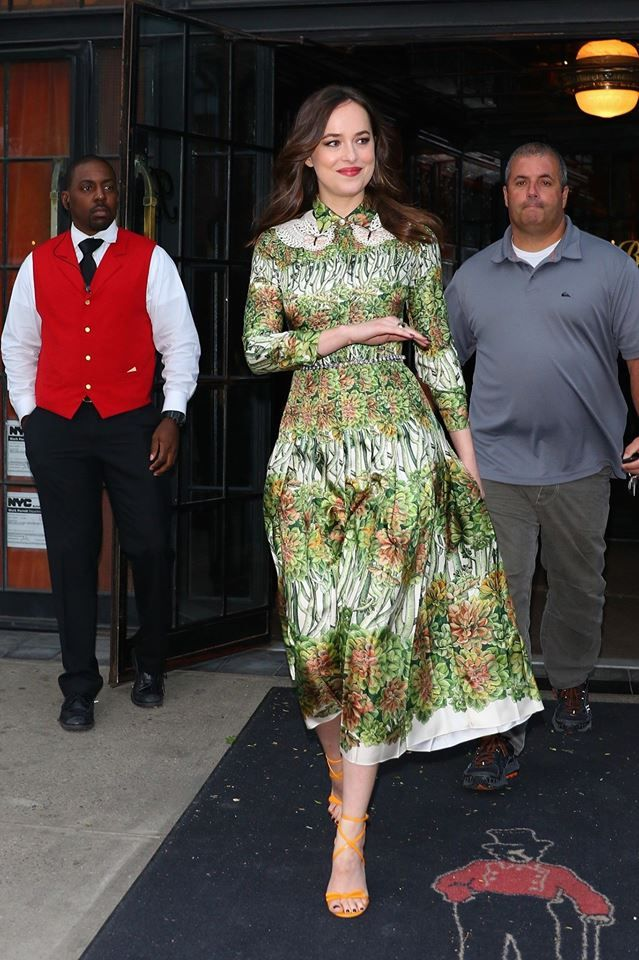 Dakota Johnson leaving hotel on her way for lunch party of her new fragrance Gucci Bloom in NYC, May 2