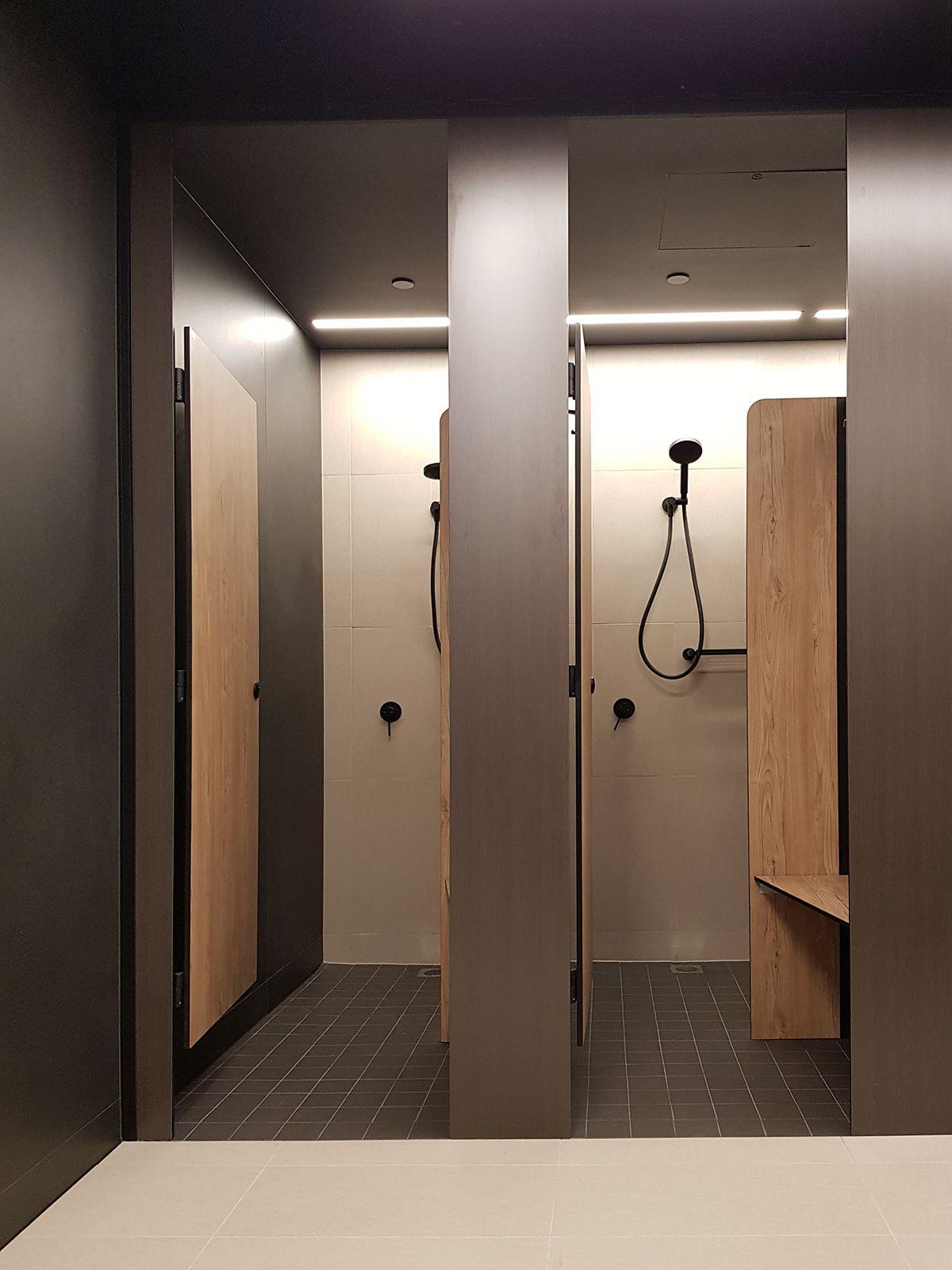 Aqualoo Windsor Compact Laminate Shower Partitions Restroom Design Public Restroom Design Cubicle Design