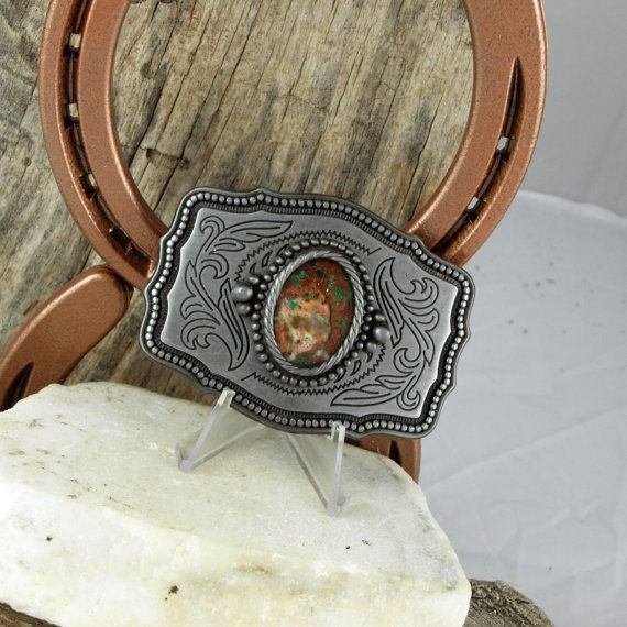 Western Belt Buckle Natural Stone Belt Buckle by CJsRocksGems