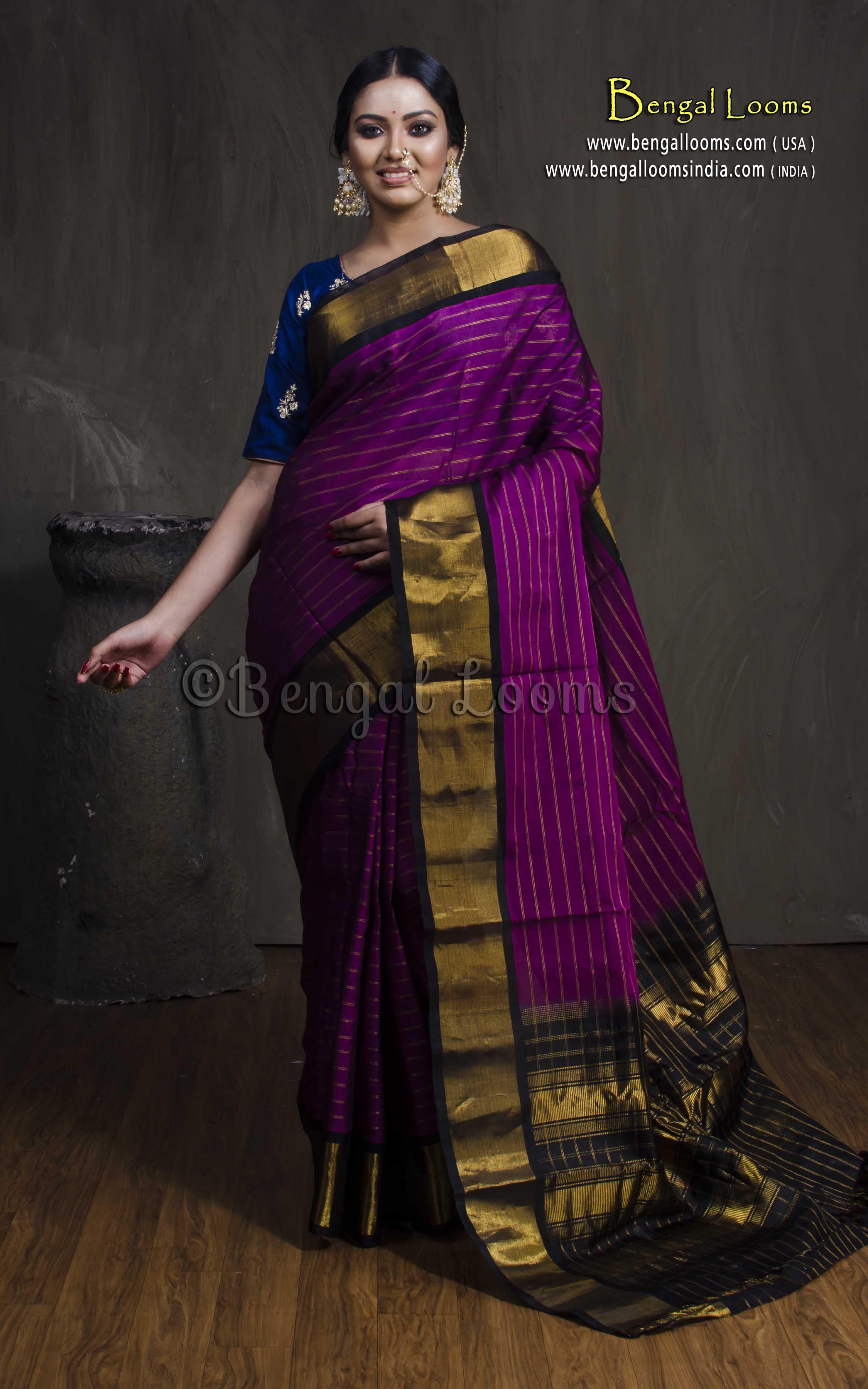 ea742c47ec Gadwal Cotton Silk Saree with Pure Silk Pallu in Purple and Black ...