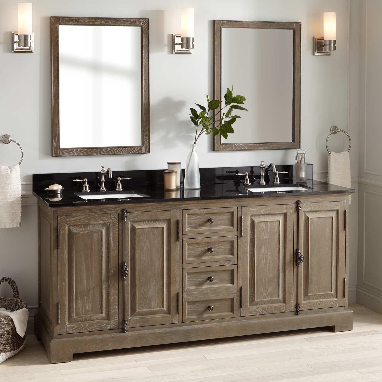 72 Chelles Double Vanity For Rectangular Undermount Sinks Gray Wash Double Sink Vanity Vessel Sink Vanity Undermount Sinks