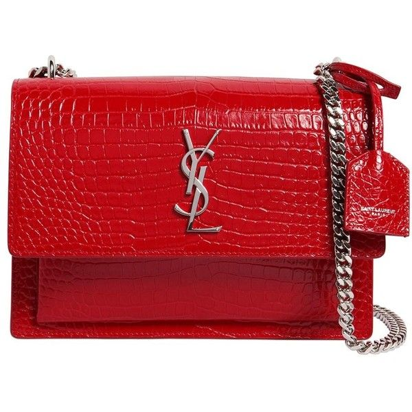 0848709850 Saint Laurent Women Medium Sunset Croc Embossed Leather Bag ( 2