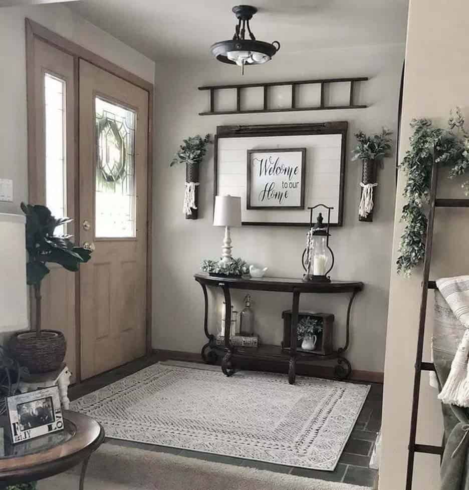 31 Cozy And Inviting Farmhouse Entryway Decorating Ideas Farmhouse Decor Living Room Farmhouse Wall Decor Farm House Living Room