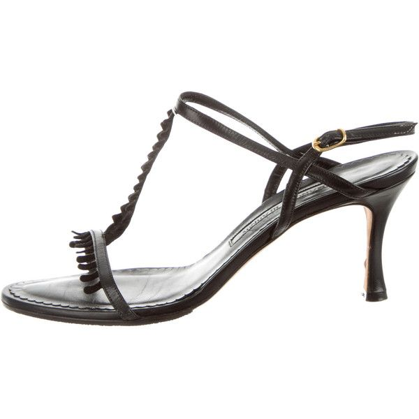 Pre-owned Manolo Blahnik Multistrap Sandals ($75) ❤ liked on Polyvore featuring shoes, sandals, black, black shoes, black ankle wrap sandals, kohl shoes, genuine leather shoes and ankle strap shoes