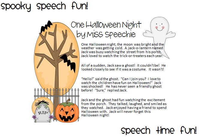 Halloween Schort.Speech Time Fun Spooky Speech Fun One Halloween Night