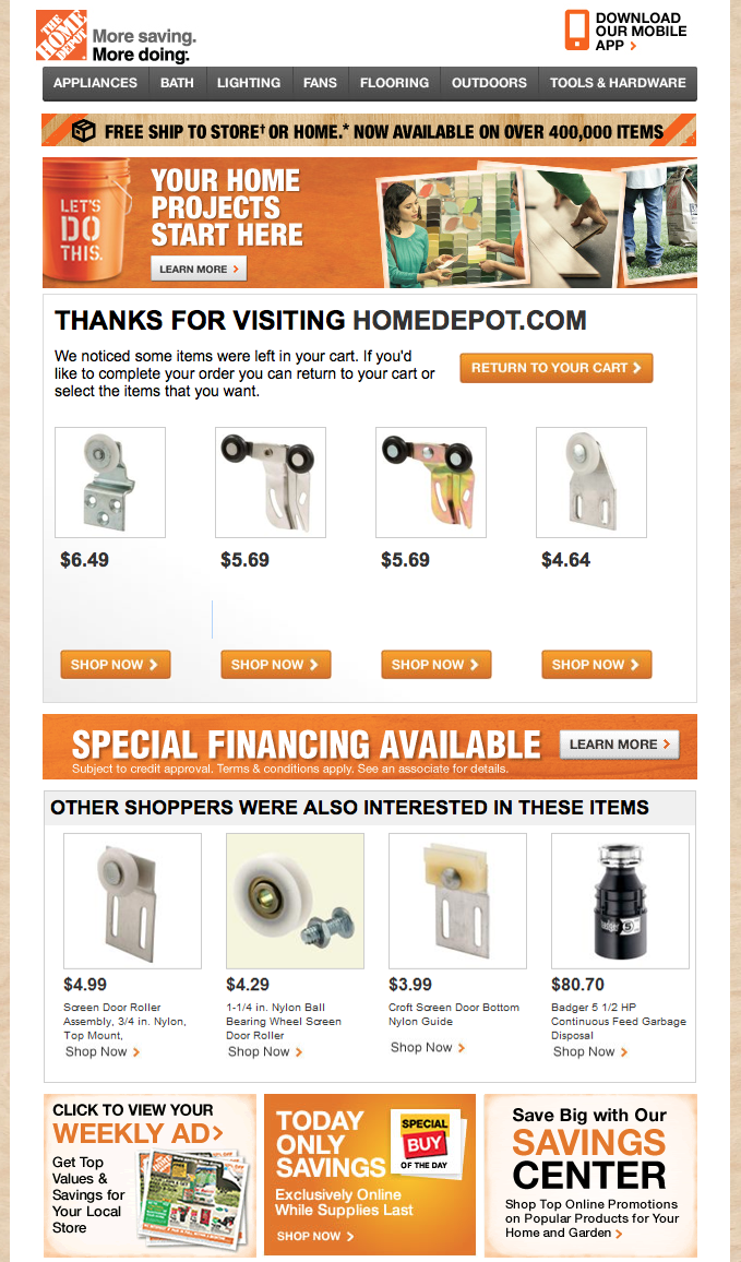 Home Depot Abandoned Cart reminder - from AB | Shopping Cart