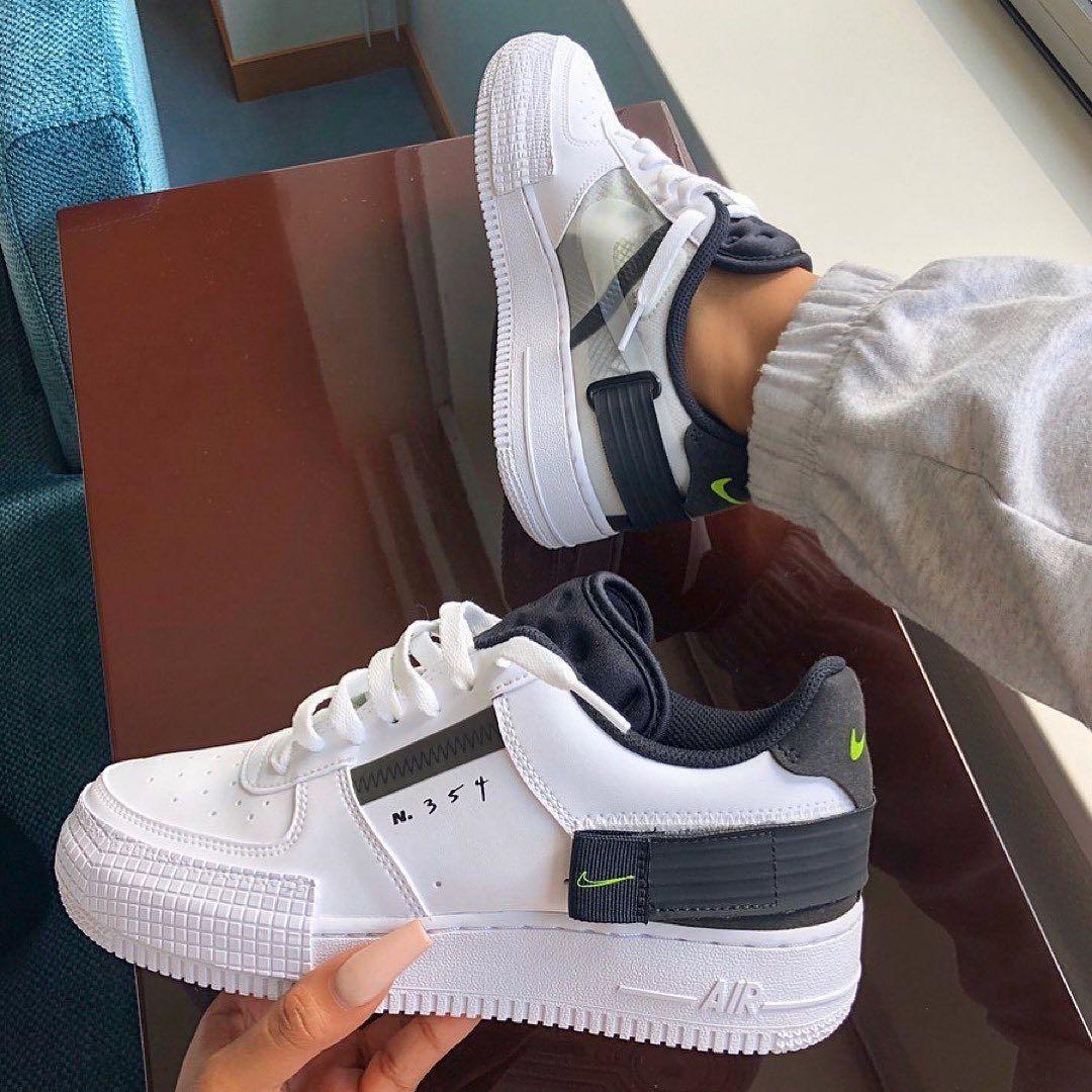 Nike Air Force 1 'type' black/white • @sherlinanym • Follow ...