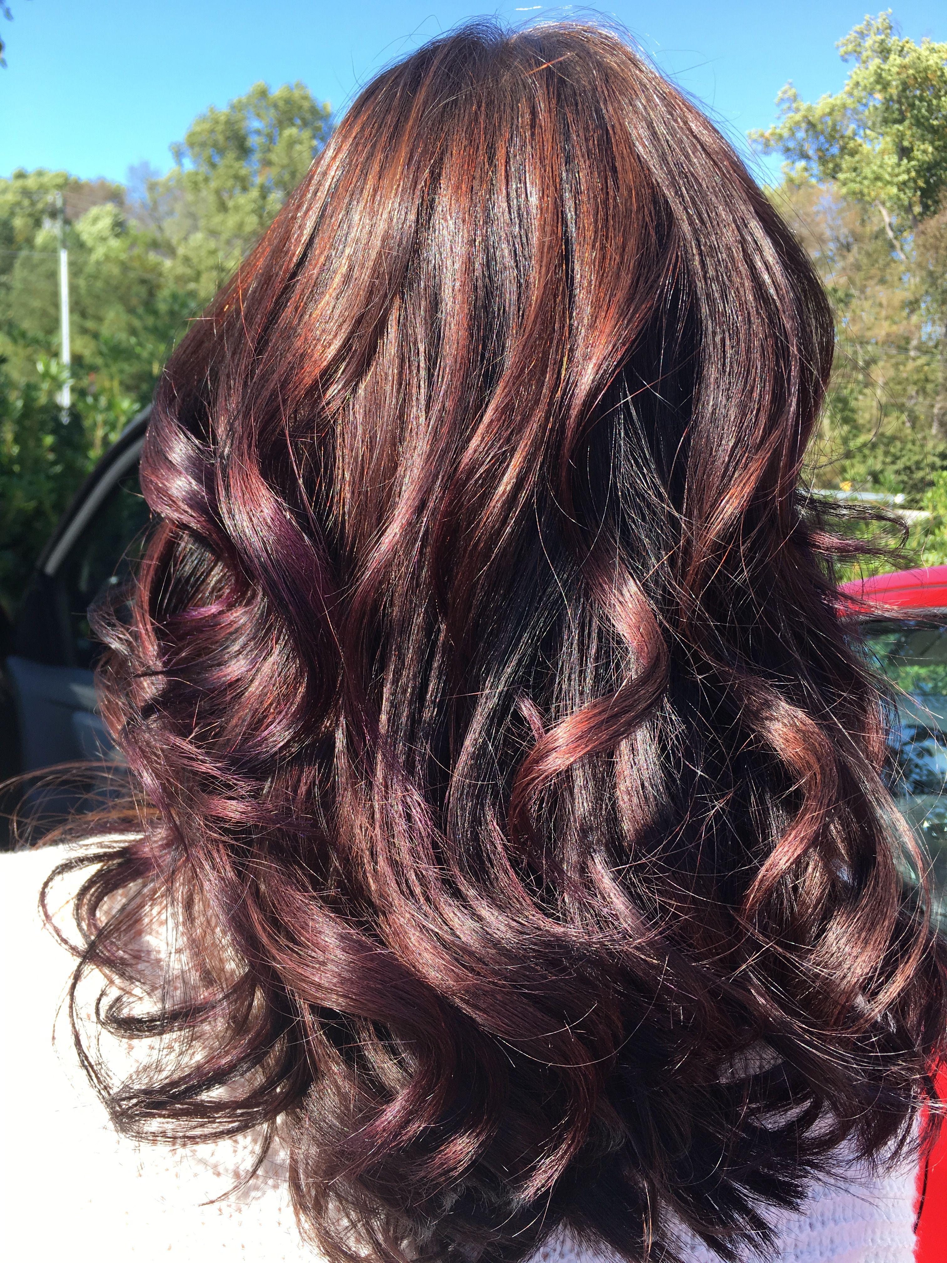 Violet Burgundy And Dark Brown Balayage Balayage Hair Hair Color Brunette Dark Brown Hair Balayage