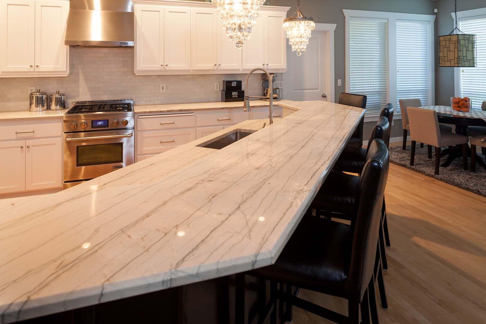 White Macaubas Quartzite Kitchen Countertops Kitchen