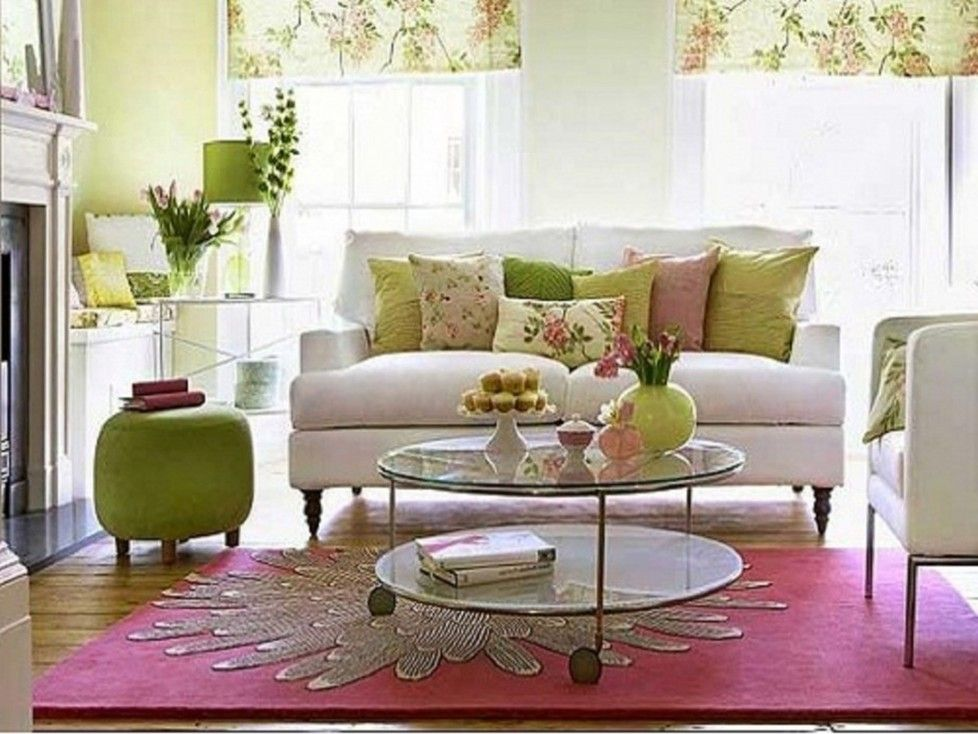 Beautiful Elegant Modern Country Living Room In Soft Colors Decoration Pink Carpet White Spring Living Room Small Apartment Decorating Small Living Room Decor