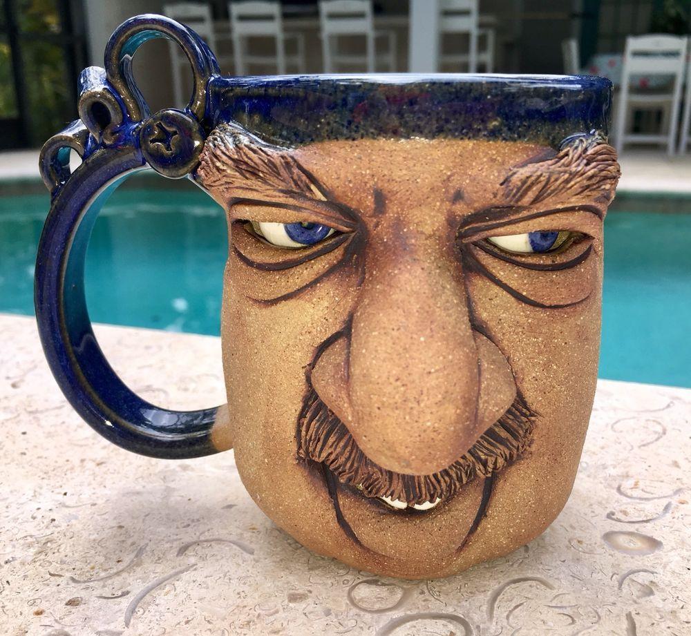Old Man Funny Face Coffee Mug Stoneware Glazed Pottery Big