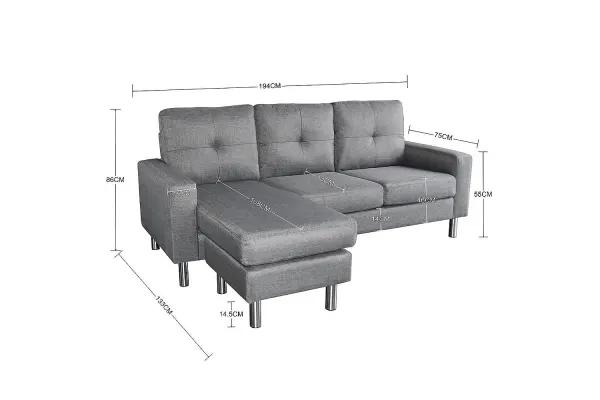 Sarantino Linen Corner Sofa Couch Lounge Chaise With Metal Legs Grey Sofas Linen Corner Sofa Corner Sofa Upholstered Sofa