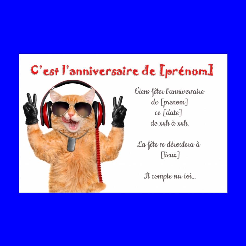 carte d invitation d anniversaire chat
