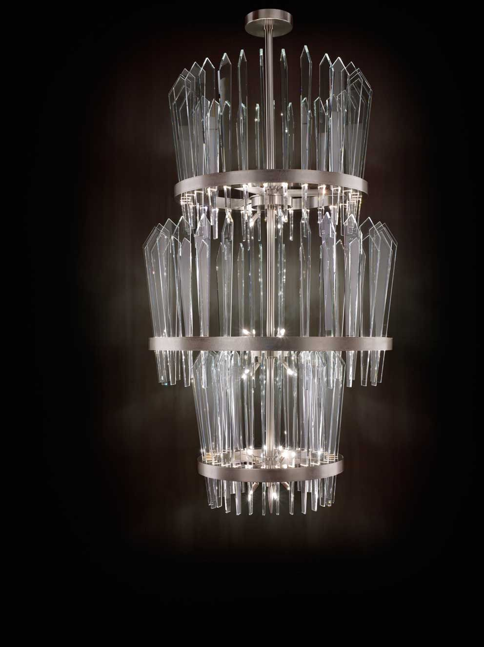 Chandelier with 3 levels in crystal #glass. Structure in cromed ...