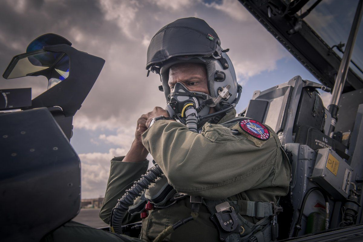 An F16 Fighting Falcon pilot, assigned to Detachment 1