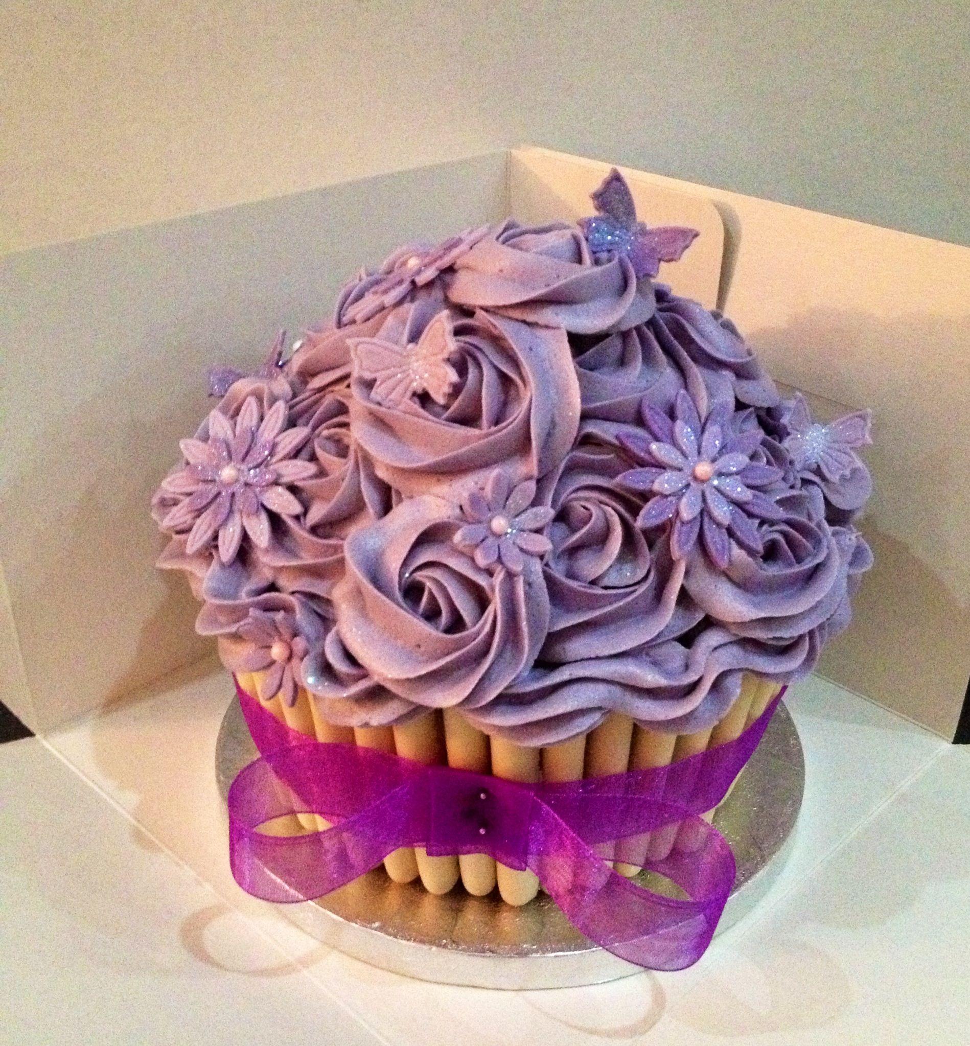 Purple Rose giant cupcake | Wedding cakes with cupcakes ...