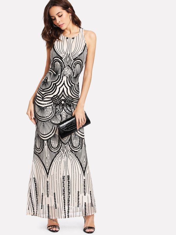 24b788e398 Shop Backless Sequin Contrast Mesh Dress online. SheIn offers Backless  Sequin Contrast Mesh Dress & more to fit your fashionable needs.