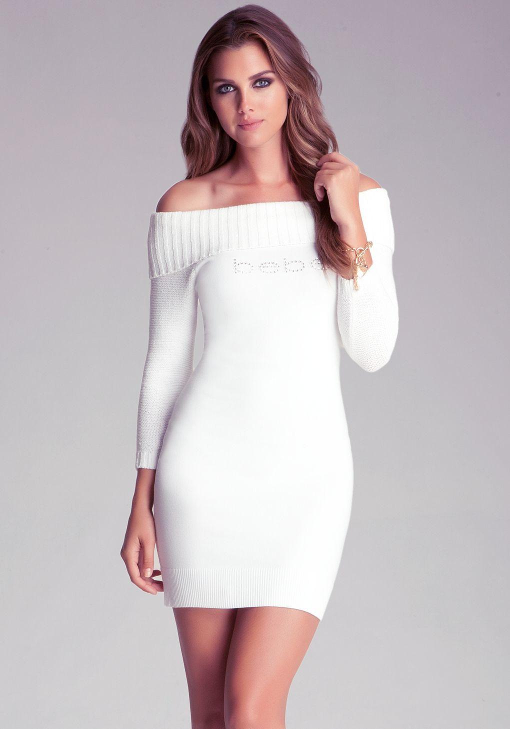 8c1421ef914 Bebe - White Off Shoulder Sweater Dress