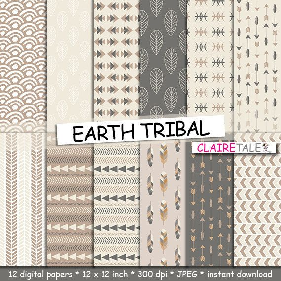 Tribal Digital Paper Earth Tribal With Tribal Patterns And Tribal Backgrounds Arrows Feathers Leaves Chevrons In Brown Earth Colours Agendas Proyectos