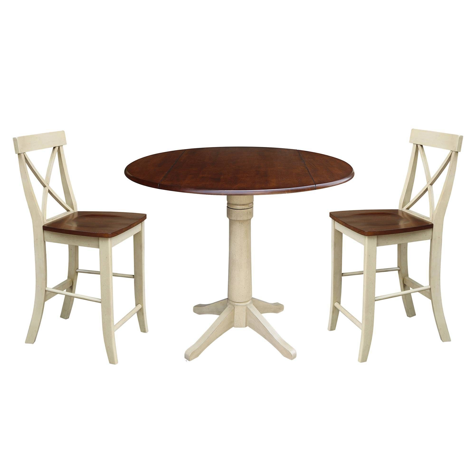 42 Gordon Round Pedestal Counter Height Table With Two