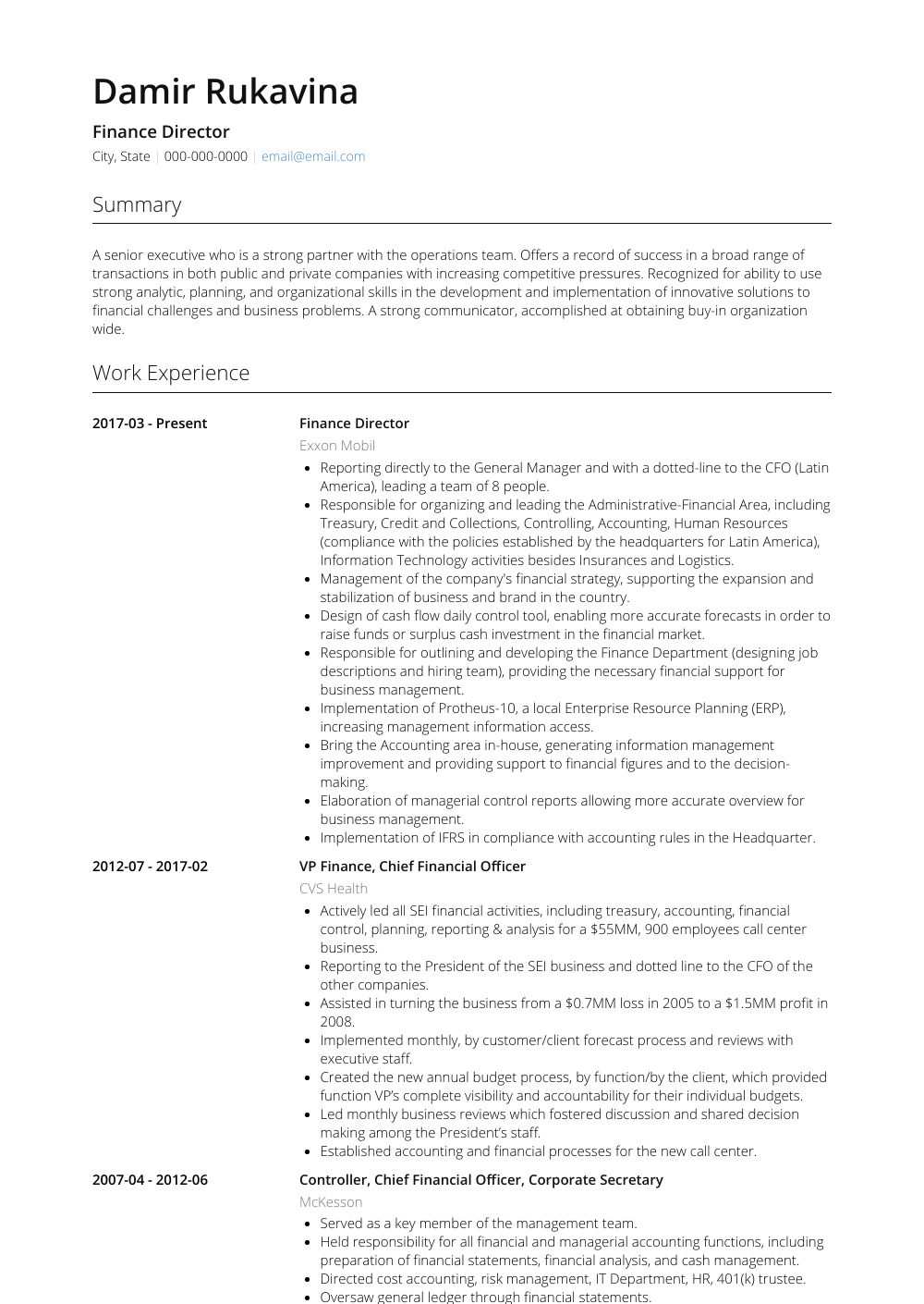 Finance Resume Sample Finance, Resume, Finance infographic