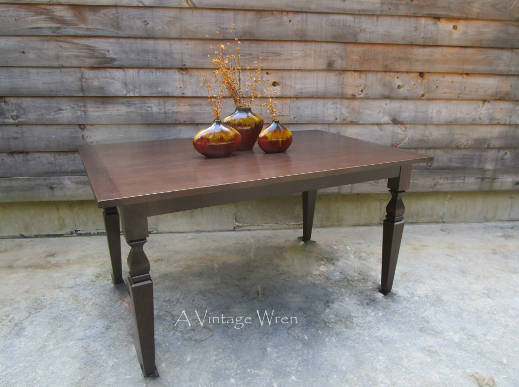 A Custom Made Solid Red Maple Table Stained In Jacobean Stained