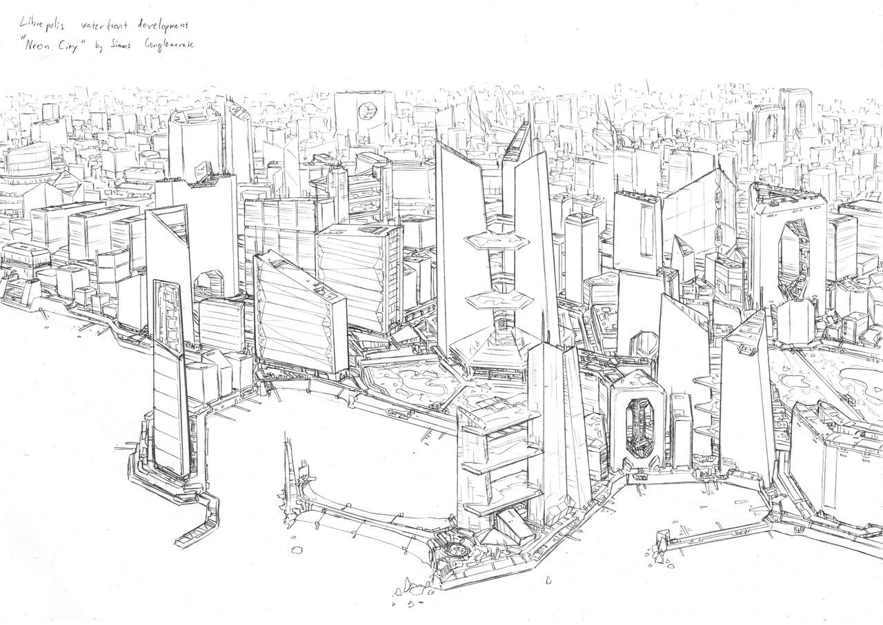 Neon city sketch by PenUser   sci fi city   Pinterest ...