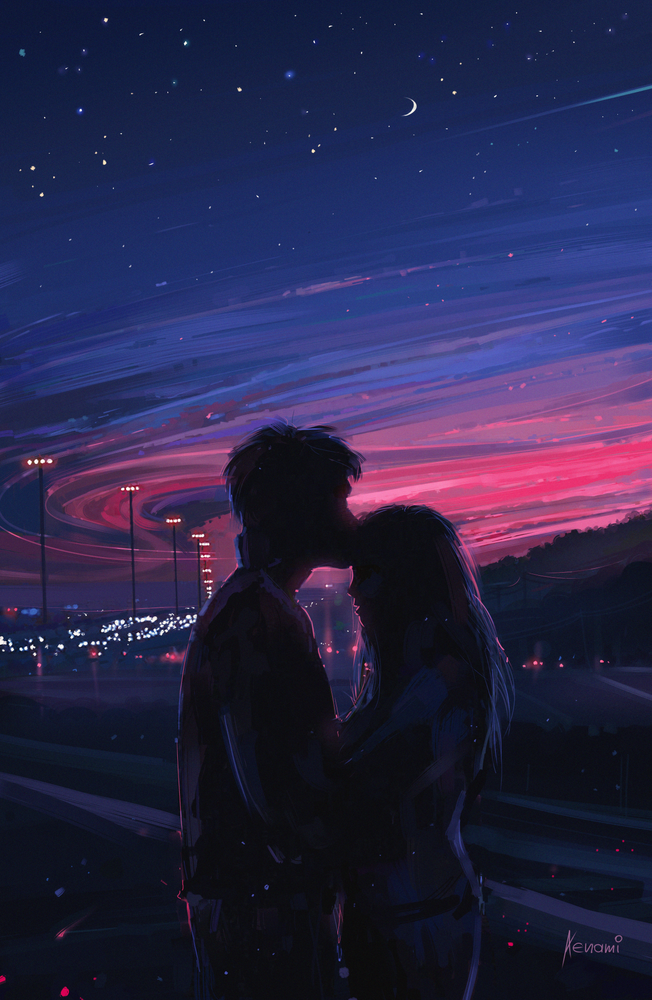 Love Framed Art Print By Aenami Vector Black X Small 10x12 In 2020 Scenery Wallpaper Anime Scenery Cute Couple Drawings
