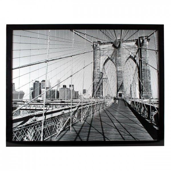 Kader In Zwart Wit Schakeringen Met Grote Afbeelding Brooklyn Bridge Op Voorgrond En New York Skyline Afmetingen 80 X 6 Brooklyn New York Skyline Afbeeldingen