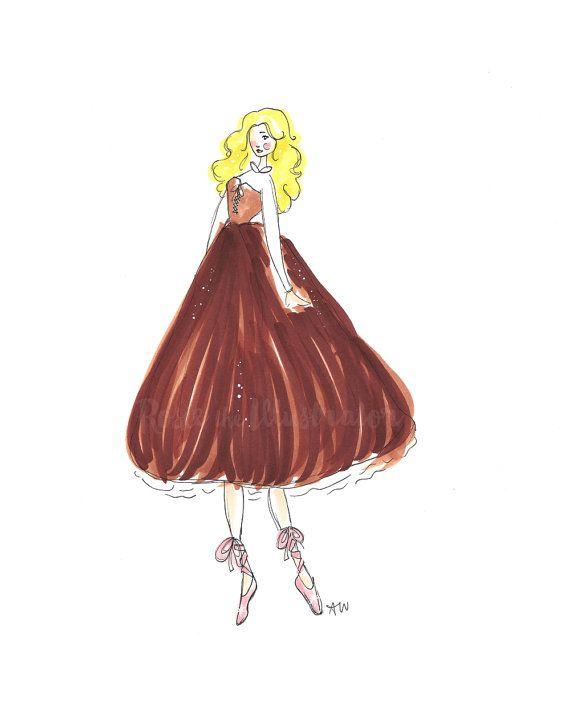 Sleeping Beauty Fashion Sketch by RosietheIllustrator on Etsy