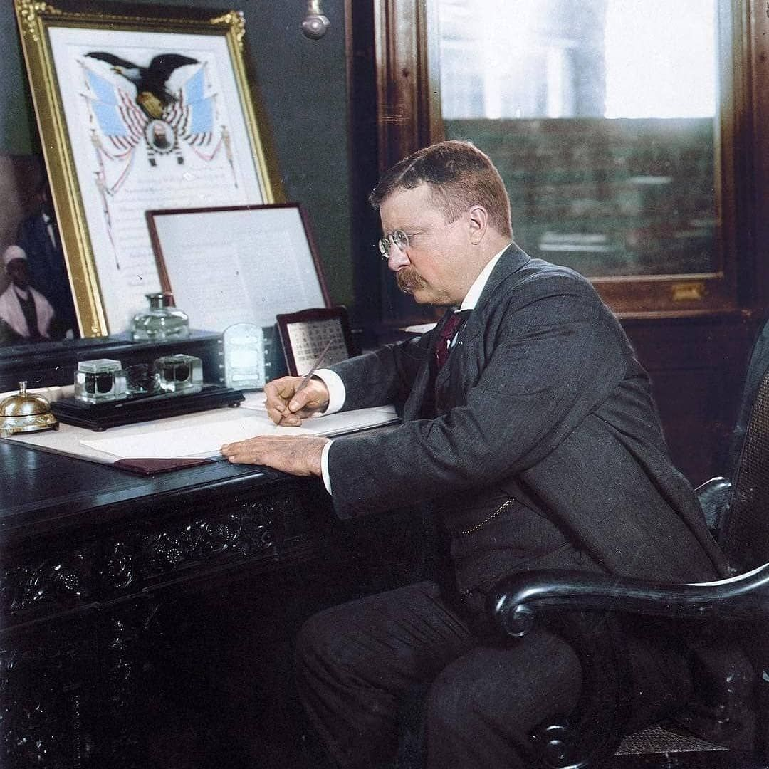 President Theodore Roosevelt Signing The Thanksgiving
