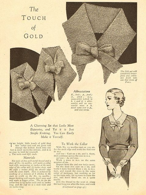1930s Knitted Collar - free pattern part 1 | Pinterest | 1930s, Free ...