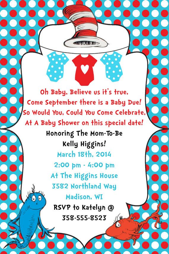 Dr. Seuss Baby Shower Invitation Digital File by WorldOfThought ...