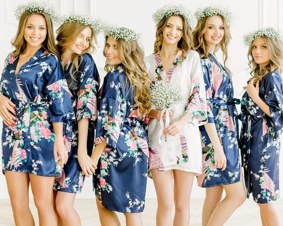 34b9cdf591243 8 BRIDESMAID ROBES -- Set of 8 Bridesmaid robes -- Adult & Kids Floral  Satin Bridal Robes -- S