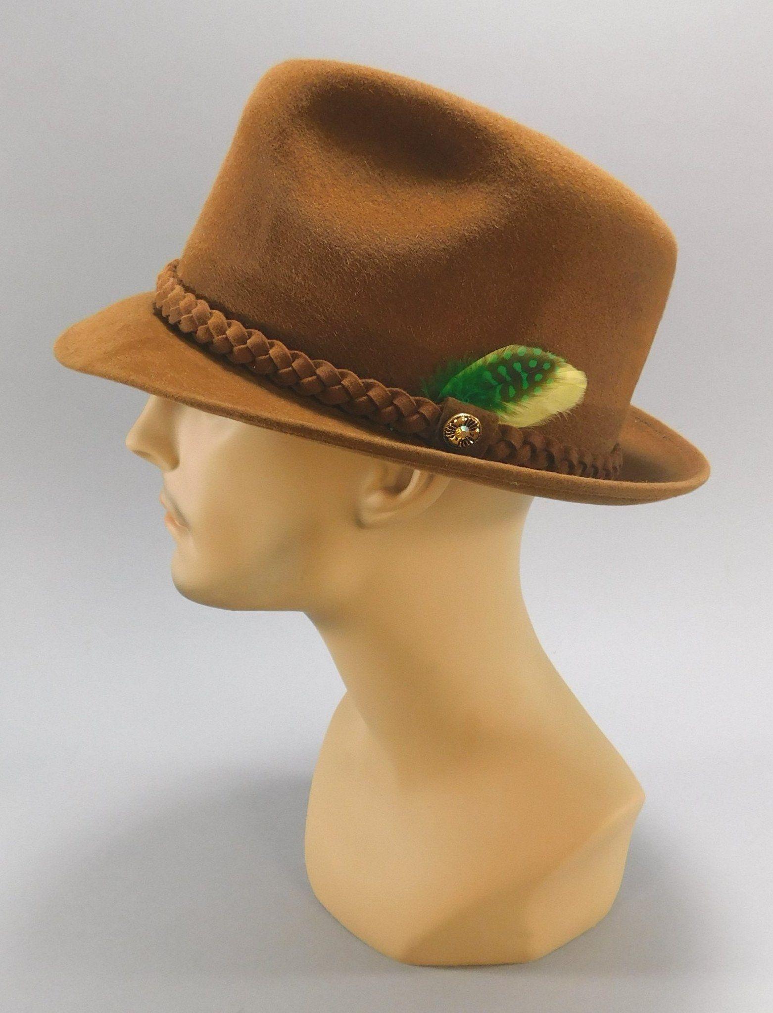 1950 s - 1960 s Vintage Brown Felt Fedora   Trilby Hat by Lion Hats ... 7ee98474ebd3