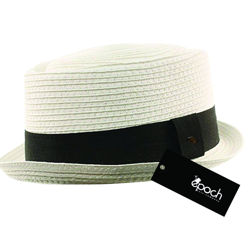 7303eb636acff Men s Cool Summer Straw Pork Pie Derby Fedora Upturn Brim Hat ...