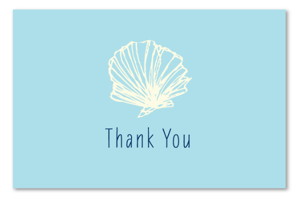 Sea Shell Thank You Cards 100 Pcw