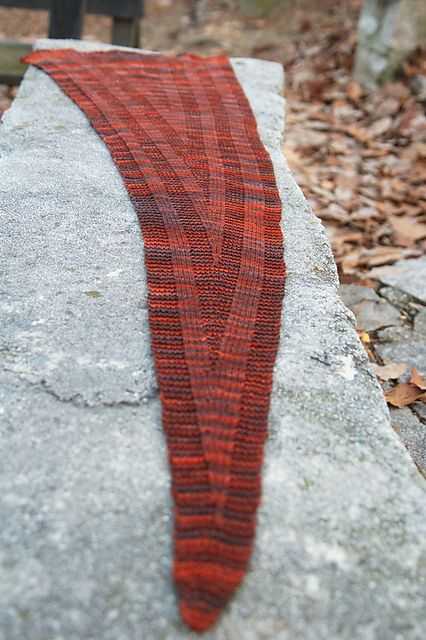 Curiosity pattern by Barbara Benson. Knit until you run out of yarn to make this long, asymmetrical scarf/shawl. Planned for Malabrigo Arroyo (Sport weight) but works great in sock, DK and worsted too.