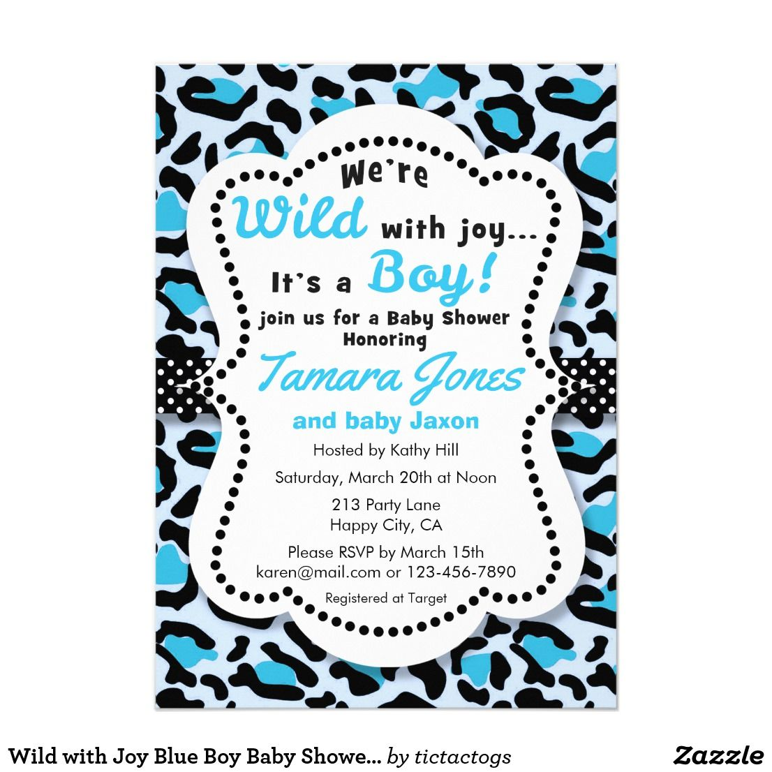 Wild with Joy Blue Boy Baby Shower Invitation Get wild with this ...