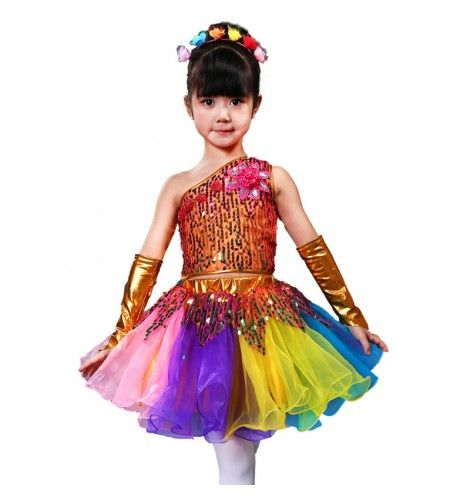 6c4c508d21d87 Girls jazz dance dresses for kids children rainbow sequined princess modern  dance chorus stage performance competition outfits