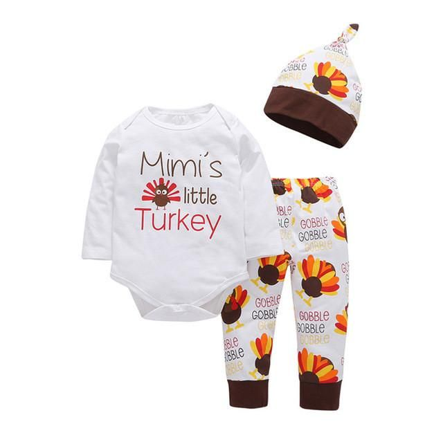 c97b47efa56 Little Turkey Long Sleeve T Shirt+Pants + Hat 3pcs Outfit. Mimi s Little Turkey  Outfit Toddler Thanksgiving Outfit