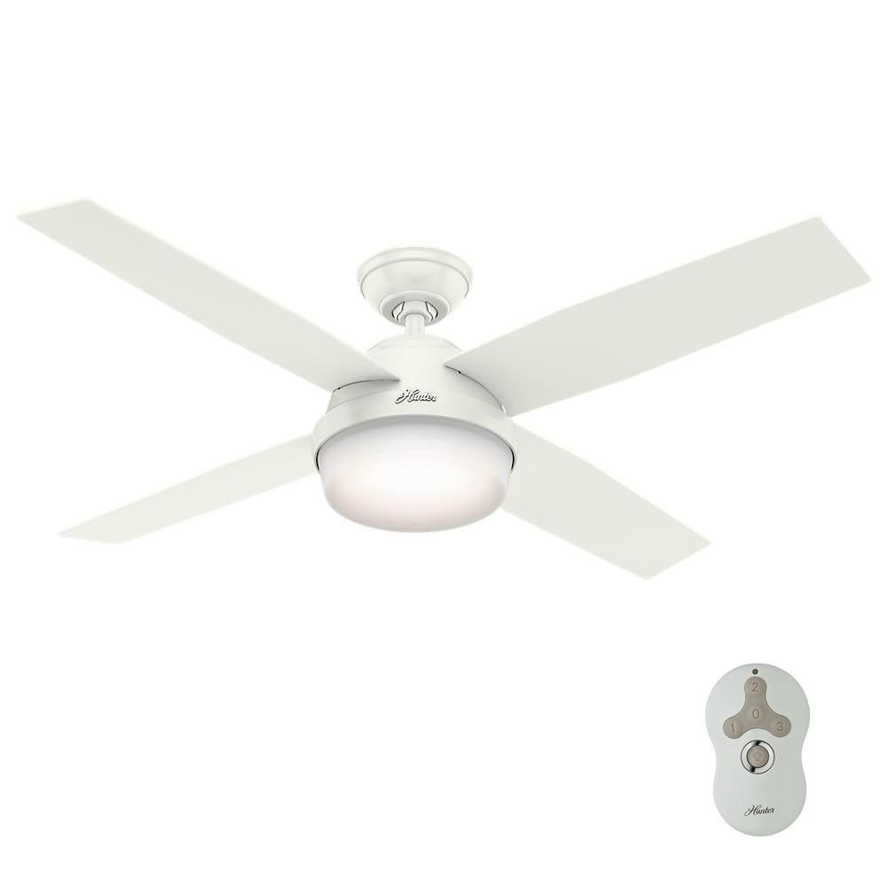 Hunter dempsey in led indooroutdoor fresh white ceiling fan