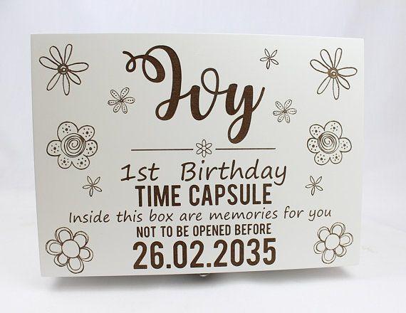Luxury Time Capsule Memory Box Keep Sake Girls White Personalised 1st Birthday Gift