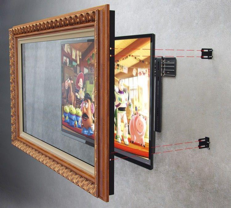 holz bilderrahmen an der wand mit falachbild tv montieren home fernseher verstecken. Black Bedroom Furniture Sets. Home Design Ideas