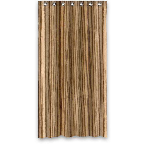 Custom Unique Design Wood Grain Pattern Waterproof Bathroom Polyester Fabric Shower Curtain Light Brown 36wx72h