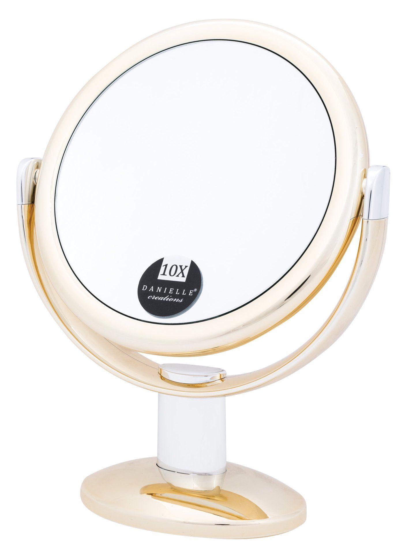 Danielle Enterprises 10x Magnification Round Vanity Mirror Gold Mirror Vanity Mirror Gold Mirror